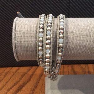 Titanium and Pearl Crystal Beaded Wrap